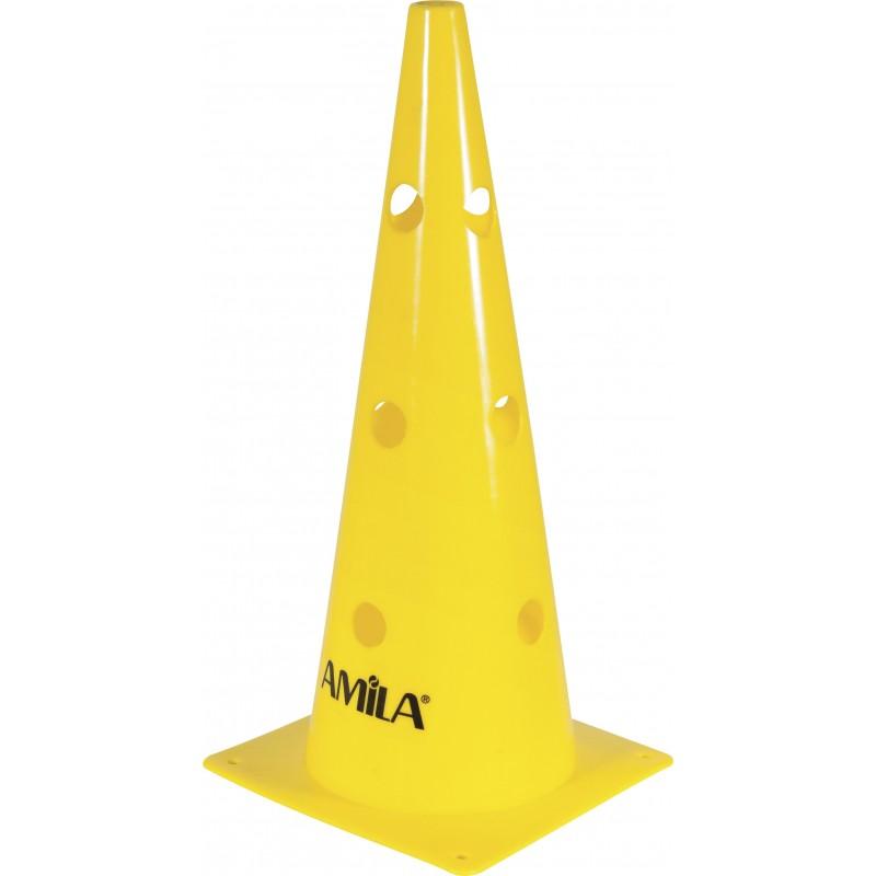 ΚΩΝΟΣ ΧΩΡΟΘΕΤΗΣΗΣ ΠΟΔΟΣΦΑΙΡΟΥ ΚΑΙ ΣΤΗΡΙΞΗΣ ΠΗΧΕΩΝ 46cm από σκληρό PVC κίτρινος AMILA 41904