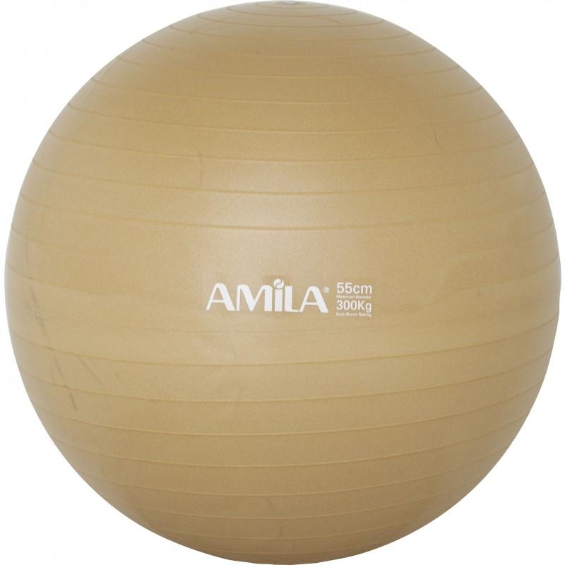 Μπάλα ΑΣΚΗΣΕΩΝ ΓΥΜΝΑΣΤΙΚΗΣ ΚΙΝΗΣΙΟΘΕΡΑΠΕΙΑΣ ΧΡΥΣΗ PILATES GYM FITNESS BALL  AMILA 48410 55cm