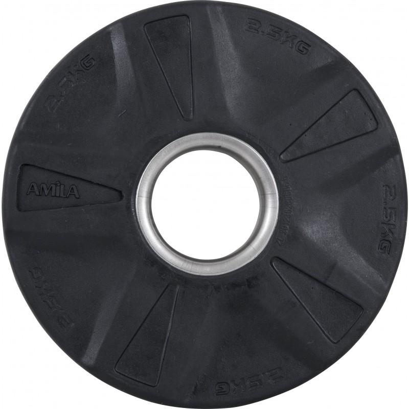 Δίσκος ΟΛΥΜΠΙΑΚΟΥ ΤΥΠΟΥ ΓΙΑ ΒΑΡΗ με Επένδυση Λάστιχου Φ 50mm 2,50kg AMILA 84566