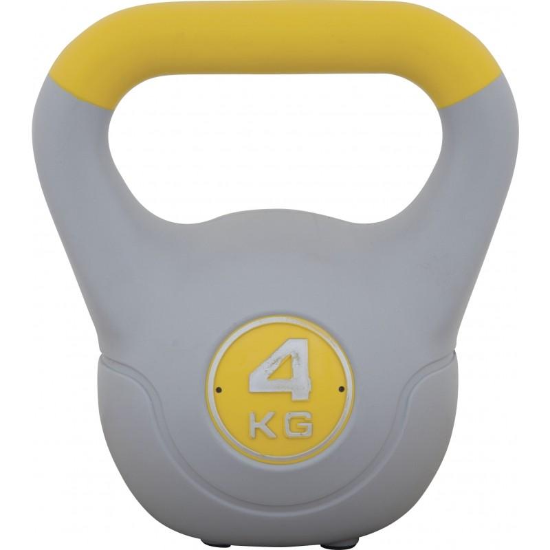 ΒΑΡΑΚΙ ΠΛΑΣΤΙΚΟΠΟΙΗΜΕΝΟ Kettlebell με επένδυση βινυλίου 4kg (Κίτρινο) 84691 amila