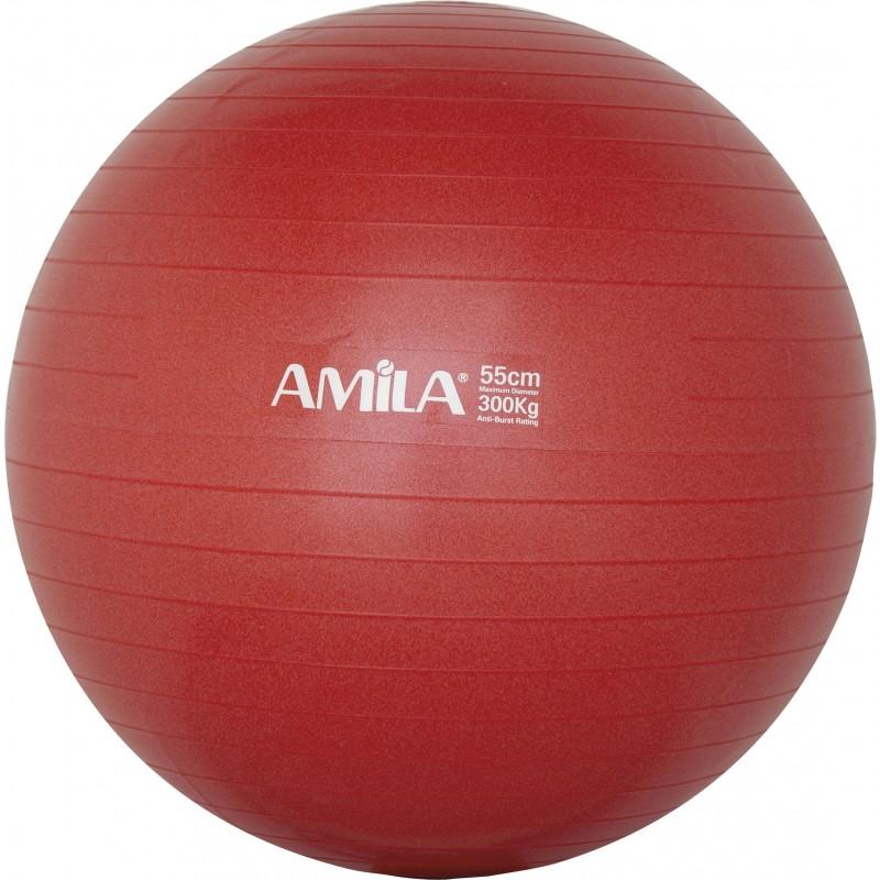 Μπάλα Γυμναστικής PILATES AMILA GYMBALL 55cm Κόκκινη 95828
