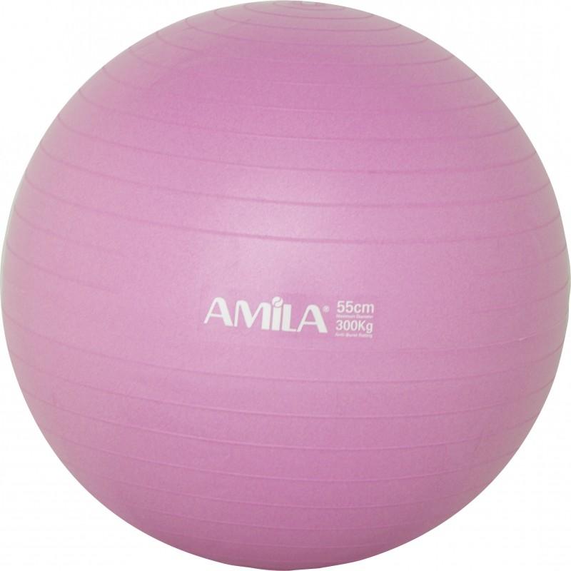Μπάλα Γυμναστικής PILATES AMILA GYMBALL 55cm Ροζ 95827
